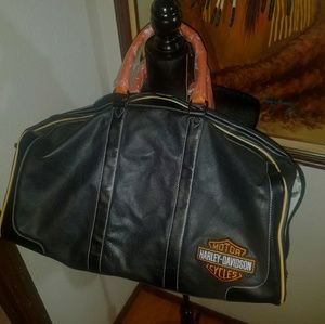 RARE Large Leather Harley Davidson Luggage Bag